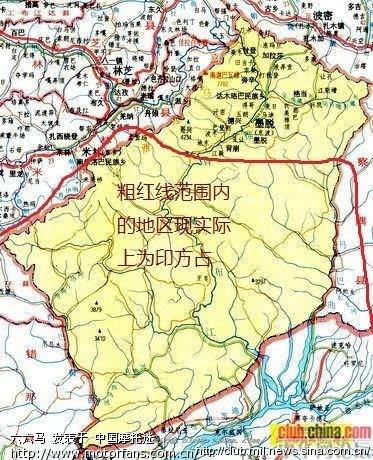 此图中,绿色的部分,是被印度占领的中国领土.