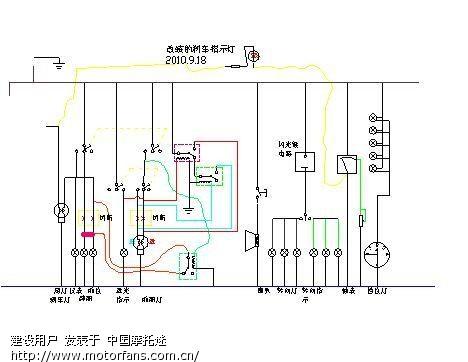 装一只发光二极管,经一只约2~3k的电阻接入前刹车