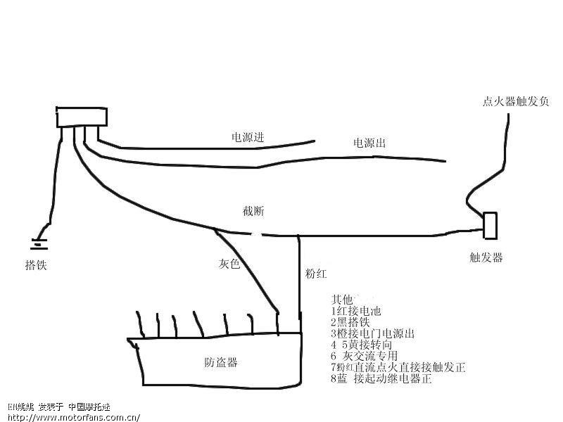 论坛 69 摩托车论坛 69 维修改装 69 (求助)防盗器的接线方法