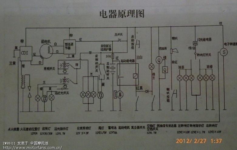 红色和白色 接的是磁电机出来的点火触发端(磁电机的点火触发端的