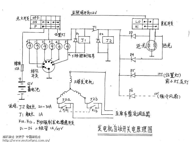 摩托车发电机接线线路图