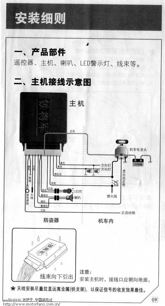 gt125s安装铁将军8883双向防盗器接法功能全实现.
