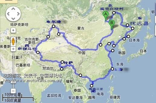 摩旅环游中国路线图 包括行驶的国道G 省道S 公里数标 高清图片