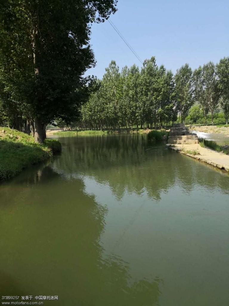 路边河道水面平静。