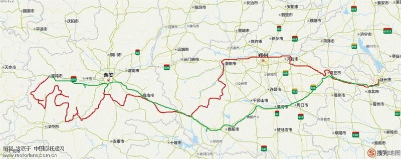 红色为去时的路线,绿色为返程路线。