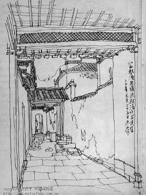 农村建筑手绘线稿