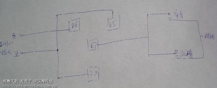 一般的3个脚的喇叭继电器看上面的标签就可以了,对于4脚的继电器就