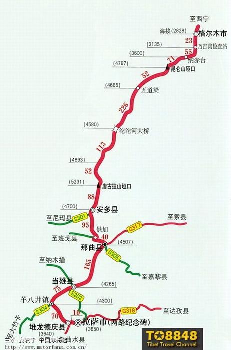 青藏公路沿途海拔高度 里程 间距,43楼增加青海旅游地图 青海摩友交图片