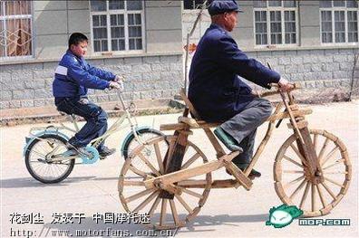 木匠自制木头自行车