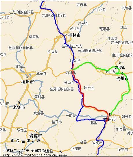 铁骑去海南单程路线图(快车组)!