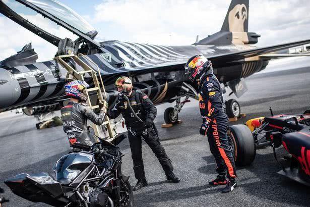 土豪的速度与激情!F16与跑车、摩托谁是竞