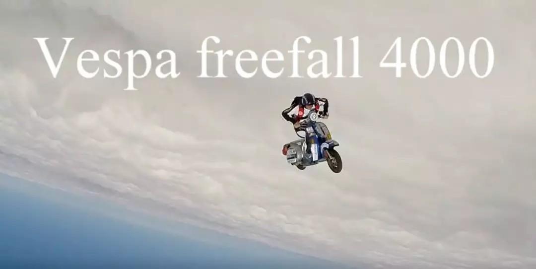 疯狂人类!在平流层骑着VESPA跳伞!